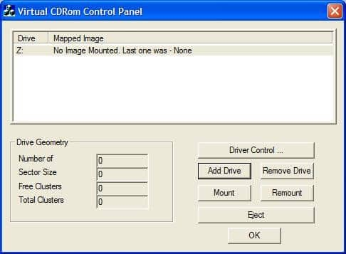 Microsoft Virtual CD ROM control panel