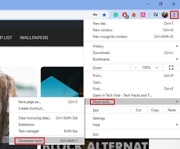 Select More tools > Developer Tools