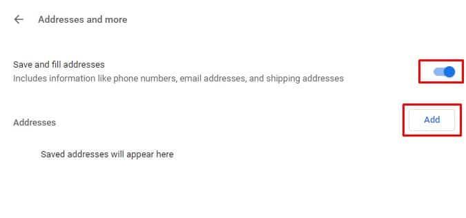 Aktifkan 'Simpan dan isi alamat'