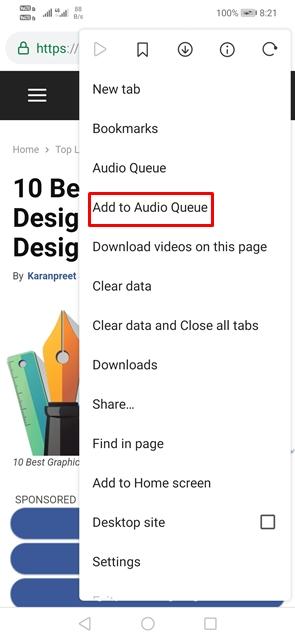 Pilih 'Tambahkan ke Antrian Audio'