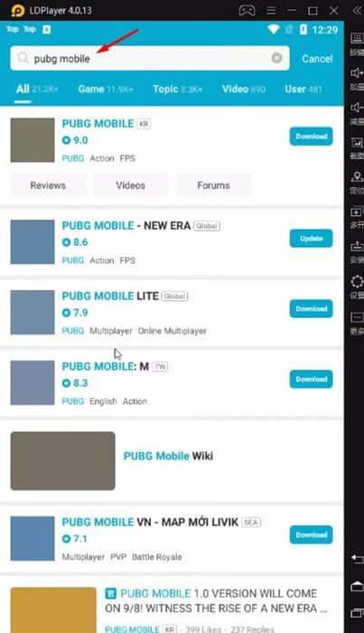 Search for PUBG Mobile