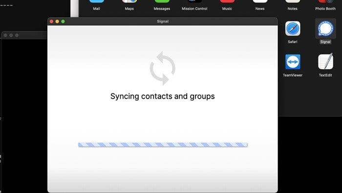 wait until the Signal desktop app syncs contacts and groups