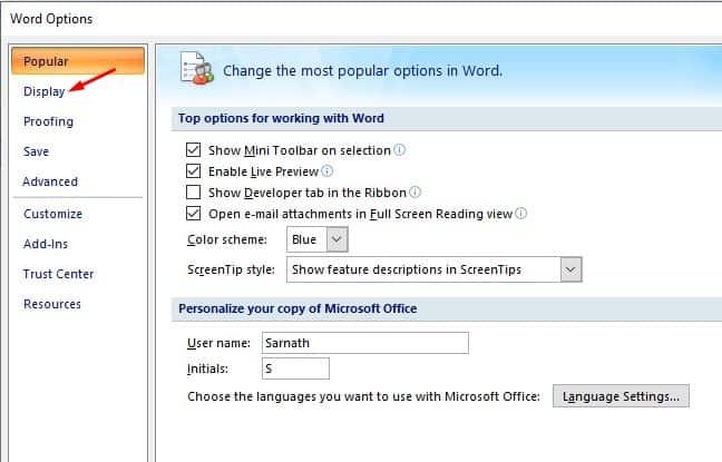 select the 'Display' tab