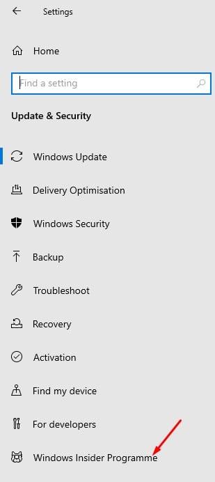 click on the 'Windows Insider Program'