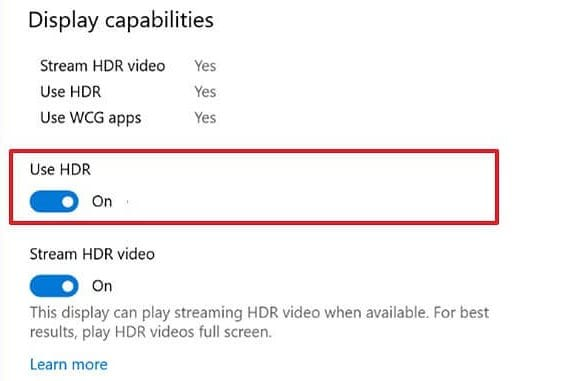 enable the 'Use HDR' toggle switch
