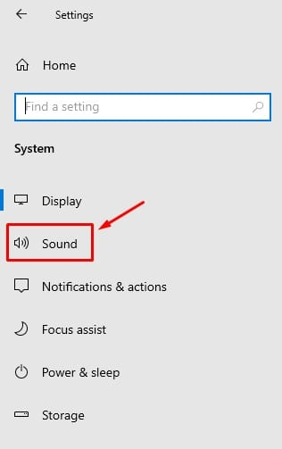 click on the 'Sound' option.