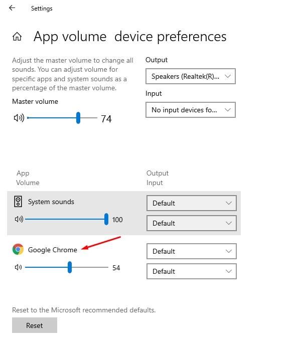 adjust the volume level for each app