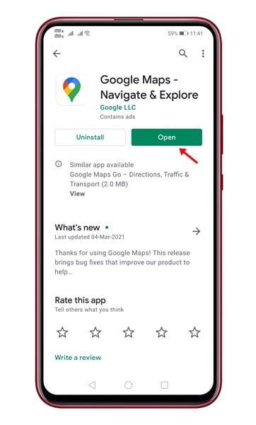 update the Google Maps app
