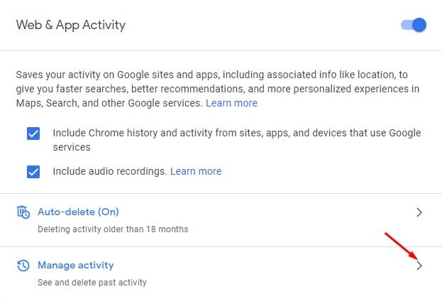 click on the Manage Activity option