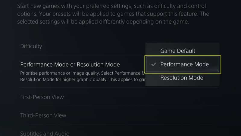Choose Between Performance or Resolution Mode