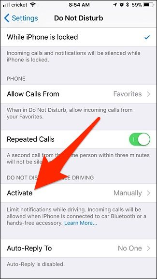 Do Not Disturb Activate