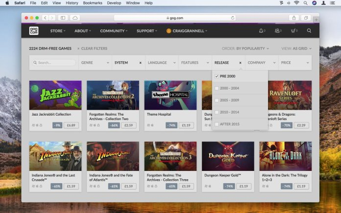 How to use GOG.com to play retro games on Mac: Browse filter