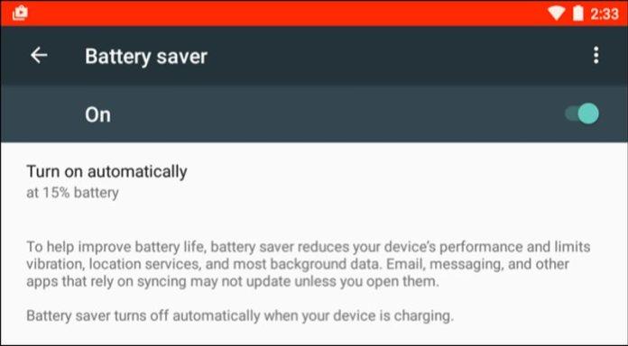battery saver mode