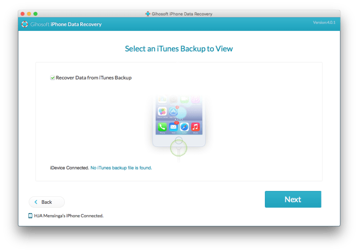 Select an iTunes Backup to View
