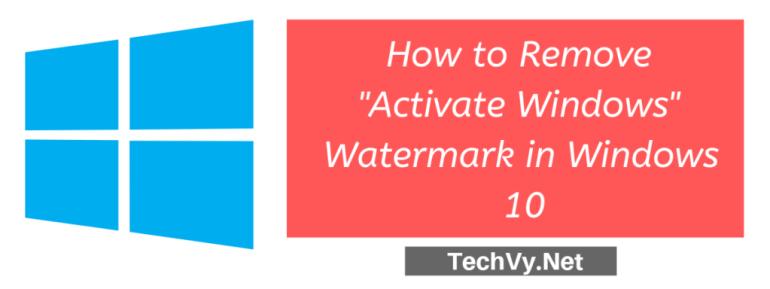 remove activate windows watermark in windows 10