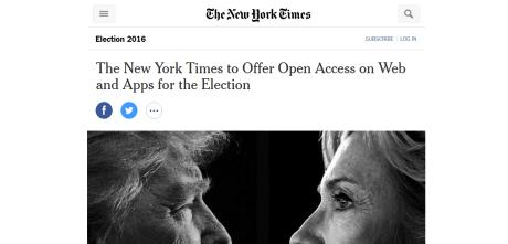 NewYorkTime紙が大統領選挙戦に向け有料コンテンツを無償開放 【@maskin】