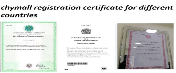chymall registration certificate for different countries
