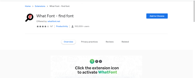 top chrome extensions (What Font)