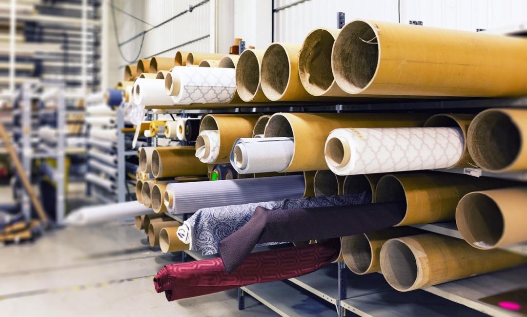 Yarn rolls textile factory