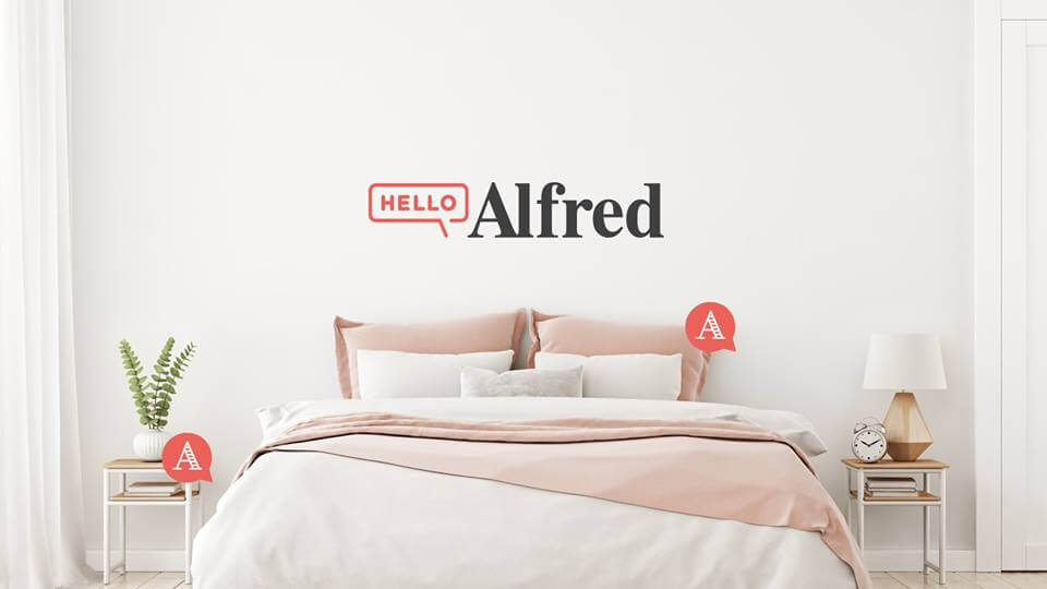 A room with Hello Alfred branding