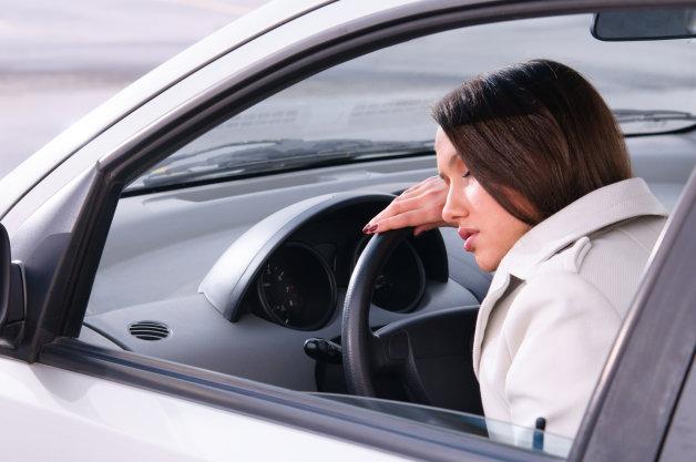Woman falls asleep driving