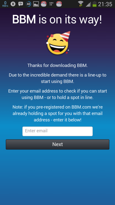 BBM for android queue