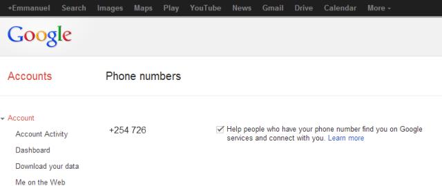 Phone numbers   Account Settings