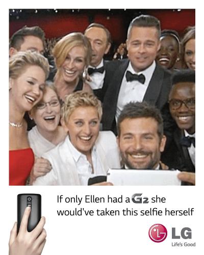 LG trolls Samsung Oscars selfie