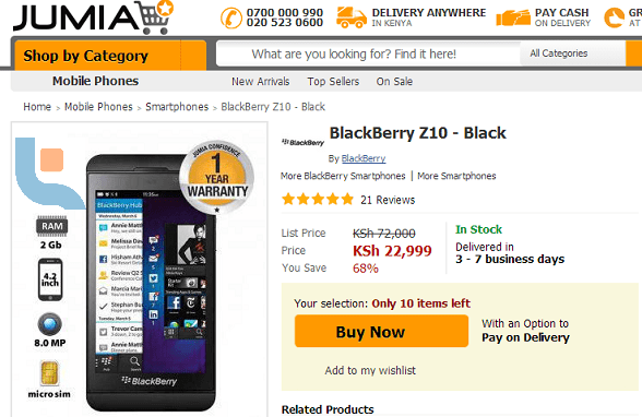 Is This Jumia Trying Too Hard To Clear Blackberry Z10 Stock?