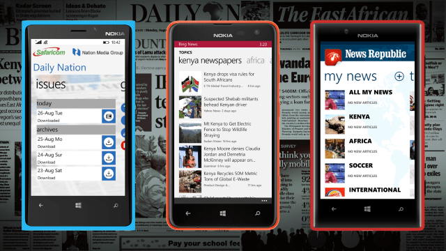 Safaricom Daily Nation Reader App, Bing News App, News Republic App