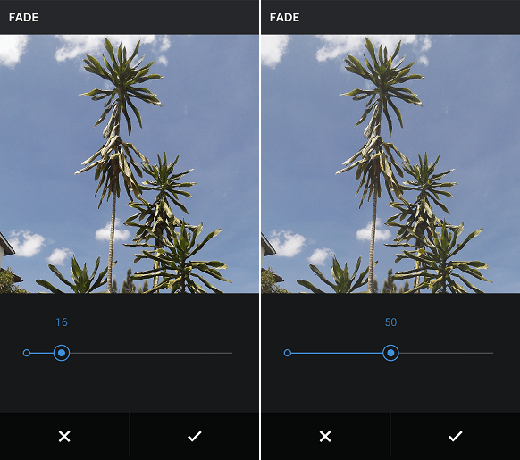 Instagram fade editing tool