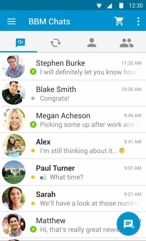BBM Android new features - material design