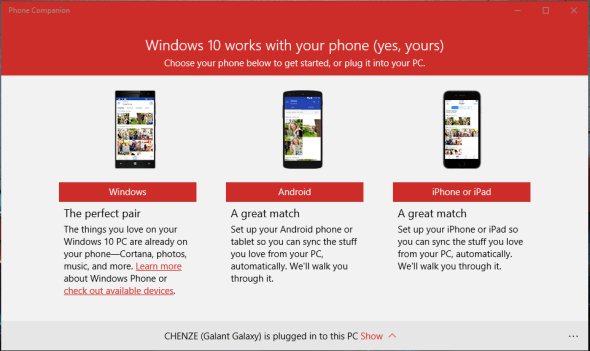 windows 10 - phone companion 5