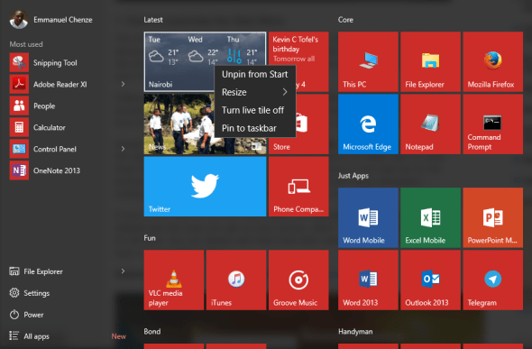 turn off live tiles - windows 10 - techweez