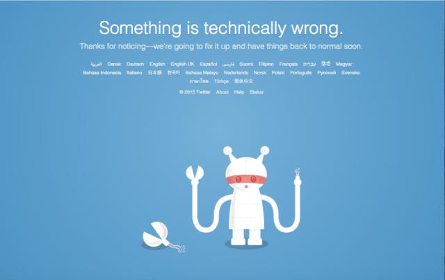 twitter is down error message