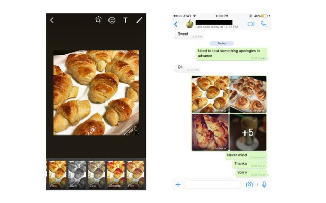 Whatsapp photo albums and filters for iOS