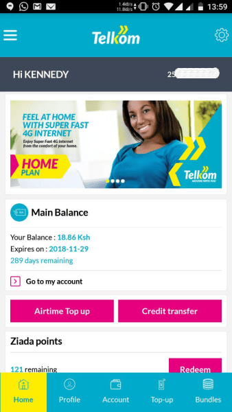 My Telkom App Home
