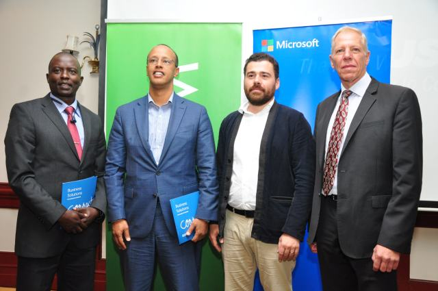 (L-R) Tonny Tuggee SEACOM General Manager East North East Africa Region, Sebuh Haileleul, Microsoft East Africa Country Manager, Carl Martens Microsoft East Africa Azure Specialist and Steven Van der Linde SEACOM Chief Sales Officer pose for a photo during the launch.