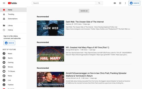 YouTube Bug Web Homepage