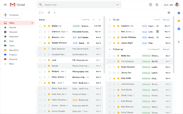 Gmail collapsible sections