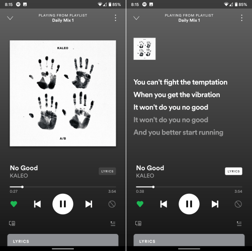 Spotify Lyrics New UI