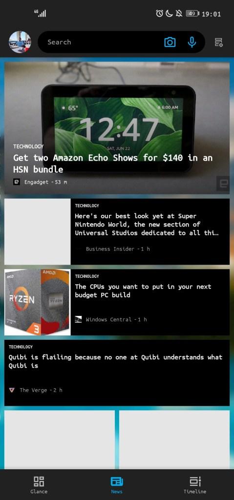 Microsoft Launcher News Tab