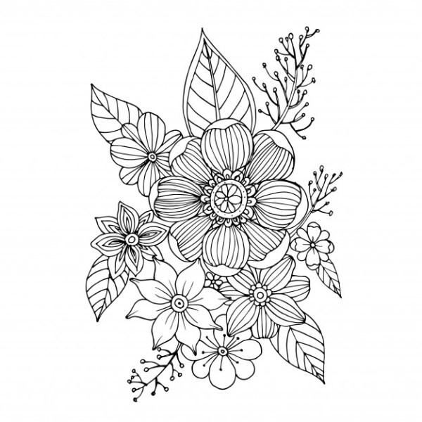 Desenho com flores tumblr para colorir