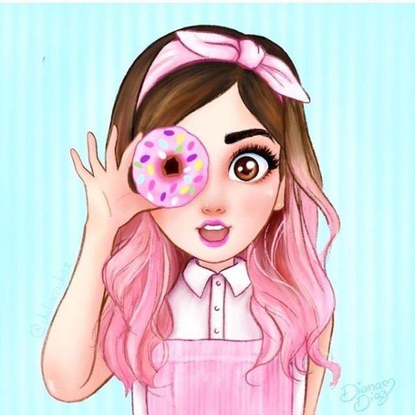 Desenho fofo de menina