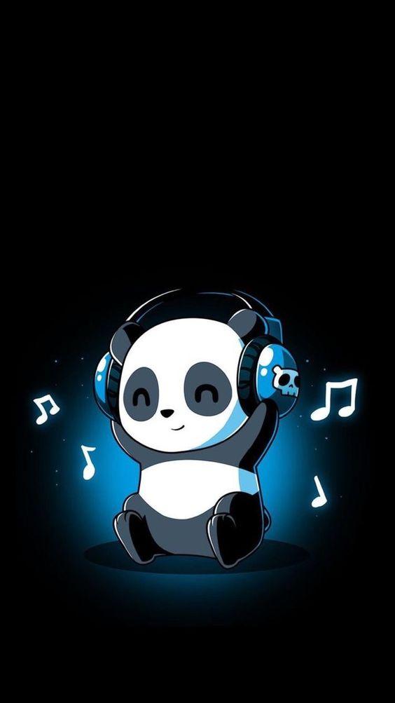 papel de parede, panda ouvindo música