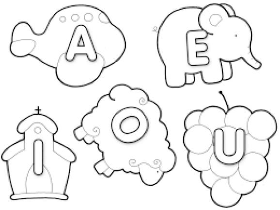 Desenhos com letrinhas alfabéticas para colorir