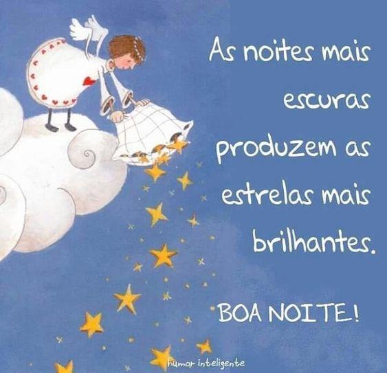 Boa noite com estrelas brilhantes