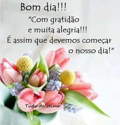 Bom dia com gratidão e alegria