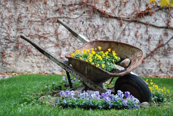 decoração de jardim  sem uso