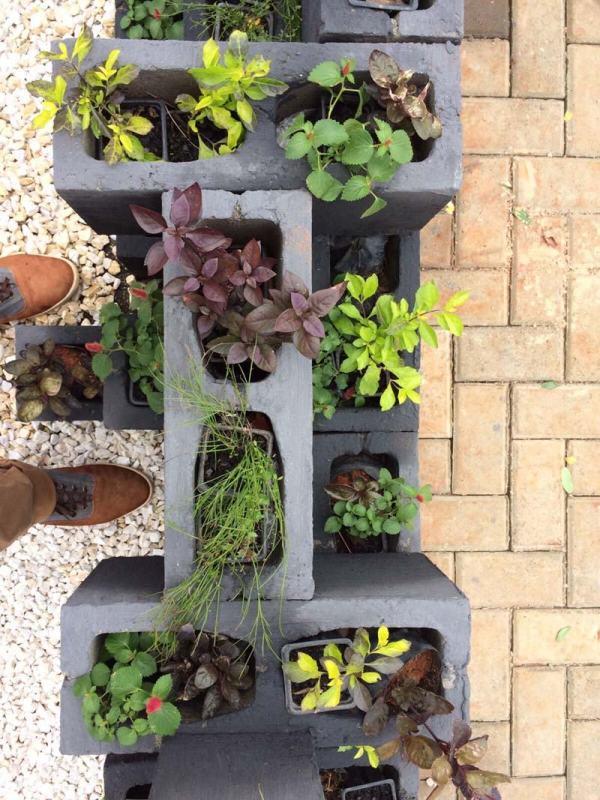 no improviso decoração de jardim